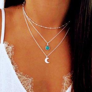 Jewelry - Three layered chocker half moon necklace